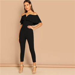 Stylish women's jumpsuit with Deconte V shoulder Ruffle fashion Social Black