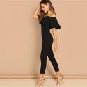 Stylish women's jumpsuit with Deconte V shoulder Ruffle fashion Social Black
