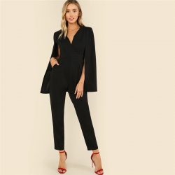 Women's elegant black luxury jumpsuit with meeting Blazer cover