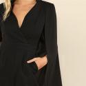 Macacão Feminino Preto Elegante Luxo com Capa de Blazer Reunião