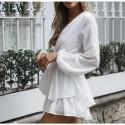 Women's fashion beach long sleeve jumpsuit with lace V-neckline Boemio