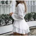 Macaquinho Feminino Moda Praia Manga Longa com Laço Decote V Boemio