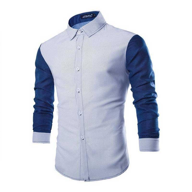 0c73d480b6 Camisa Slim Fit Casual Masculina Bolinhas Minimalistas