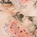 Macacao Feminino Floral Chiffon Manga Longa Tecido Leve e Solto