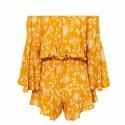 Yellow paisley flowers short fashion beach skirt long sleeve jumpsuit