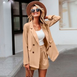 Women's set with Short and Casual Beige Brown Super Elegant Blazer