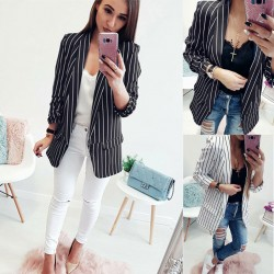 Women's Social Blazer striped black elegant Formal fashion office