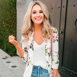 Women's white Floral Casual long sleeve basic Blazer