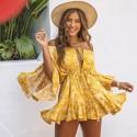 Macaquinho Amarelo Estampada Flores Curto Moda Praia Saia Manga Longa