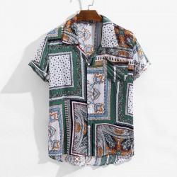 Cotton bohemia Pattern Short sleeve button Shirt