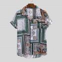Camisa Masculina de Botão Manga Curta Estampa Boemia em Algodão
