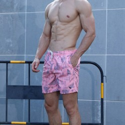 Short Pink male fashion beach print Florida with adjustable haul