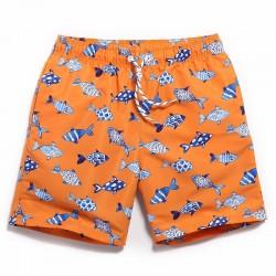 Men's Bermuda fish print orange swimwear