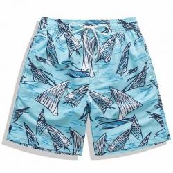 Short Masculino Estampa Desenhos em Rabisco Azul Claro Tubarão