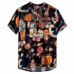 Men's short sleeve printed summer fashion black Floral shirt