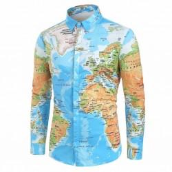 Camisa Estampa Mapa Mundi Manga Longa Estilo Geek Nerd Verde Geografia