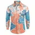 Shirt pattern Map Mundi long sleeve Geek style Nerd Green geography