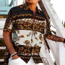Camisa Havaiana Floral Listrada Manga Curta Moda Praia Verão de Botões