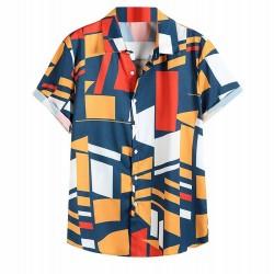 Camisa Geometrica Abstrata Colorida Manga Curta Tecido Fino Masculina