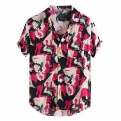 Men's button Shirt short sleeve fashion Beach ink stains