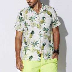 Camisa Abacaxi Floral Moda Havaiana Masculina Plus Size Tamanho Grande