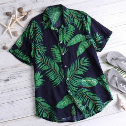 Camisa Plus Size Havaiana Masculina Manga Curta Botão Tamanho Grande