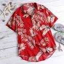Plus Size Hawaiian Men's Short sleeve button large size shirt