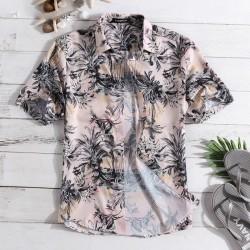 Camisa Masculina Floral Moda Plus Size Verão Manga Curta de Botão