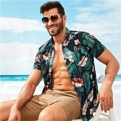 Camisa Floral Bananeira Preto e Verde Masculina Havaiana Manga Curta