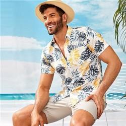 Camisa Masculina Branca Florida Moda Verão e Praia Manga Curta