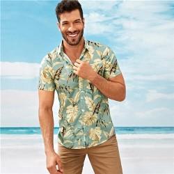 Men's Golden Floral short sleeve cotton shirt