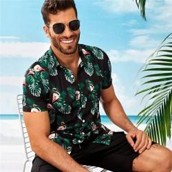 Camisa Preta Masculina Estampada Florida Manga Curta de Botão