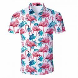 Camisa Aberta Estampa Flamingo Floral Masculina Manga Curta cor Branca