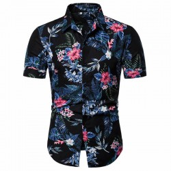 Men's colorful printed short sleeve tropical Flowers shirt
