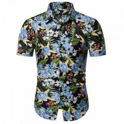 Camisa Masculina Estampada Colorida Flores Tropicais Manga Curta