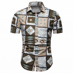 Men's Casual style Asbatrados square printed Afro shirt