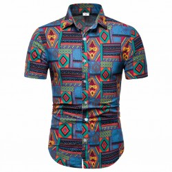 Men's button short sleeve Afro shirt