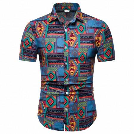 Men's button short sleeve Afro shirt