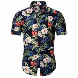Camisa de Praia Masculina Floral Manga Curta em Algodão