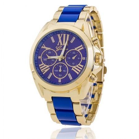 68e8bdceb31 Relógio Feminino Inoxidável Casual Azul Bonito Elegante Dourado