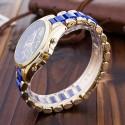 Relógio Feminino Inoxidável Casual Azul Bonito Elegante Dourado