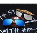 Men's Dark Wood-framed Sunglasses