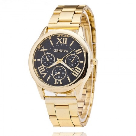 Clock Geneva Female Formal Gold Romans Executive Luxury