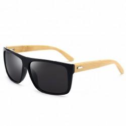 Óculos de Sol Masculino Escuro com Armação em Madeira