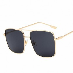Aviator Square Sunglasses Gold Steel Frame