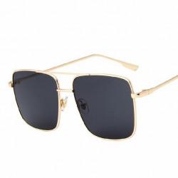 Óculos de Sol Masculino Aviador Quadrado Armação em Aço Dourado