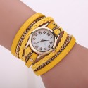 Relógio Bracelete de Couro Feminino Multicolor com Corrente Fashion
