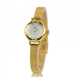 Clock Female Classico Minimalist Gold and Silver Elegant Small