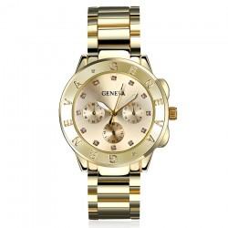 Relógio Luxuoso Feminino Gevena cor de Ouro com Cristias em Quartzo