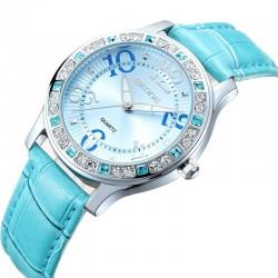 Relógio Feminino Casual com Cristais Prateado em Quartzo Luxo Fashion
